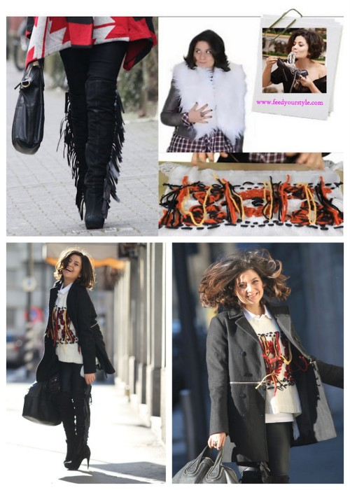 DIY Isabel Marant Fringe Boots, Fringe Leggings, Furry Coat and Yoan Sweater for Next Fall and Winter. Photo collage by Alessia of A Matter of Style, bottom photos found on Chic Steals here.This 7:45 min video is funny, detailed with so much info. Find the detailed video tutorial at Feed Your Style here.   *Preview of video: detachable fringe for boots and leggings (easy), furry neck piece made from an IKEA rug (just one cut, no sew), and a sweater made with stitching yarn in a pattern that looks amazing on.