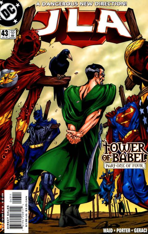 What I'm reading now: JLA #43: Tower of Babel part one of four I was thinking about how I loved Justice League Doom, so I got the arc it was apparently based off of. from the cover i can tell three differences already, that in the movie it was hal jordan, it omitted aquaman for cyborg, and some villain i didn't know, and here it seems to be ra's al ghul and kyle rayner and has aquaman in it. hmm