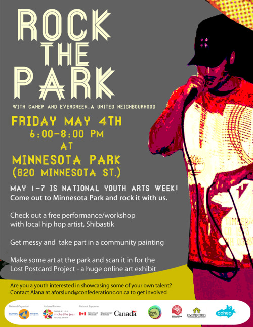 Thunder Bay is so stoked for NYAW!  CAHEP will be hosting Rock the Park on Friday May 4th - local hip hop artist Shibastik will be performing/workshopping with youth and a bunch of other visual art projects are taking place.