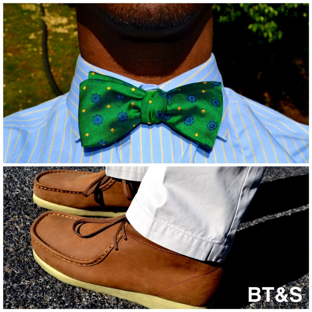 Today: Bow Tie $12 Stein Mart (Retail $40), Tommy Hilfiger Dress Shirt $15 Stein Mart Retail ($40), Banana Republic Khakis $20 (Retail $60). Clark's Wallabees  $40 6pm.com (Retail $140).