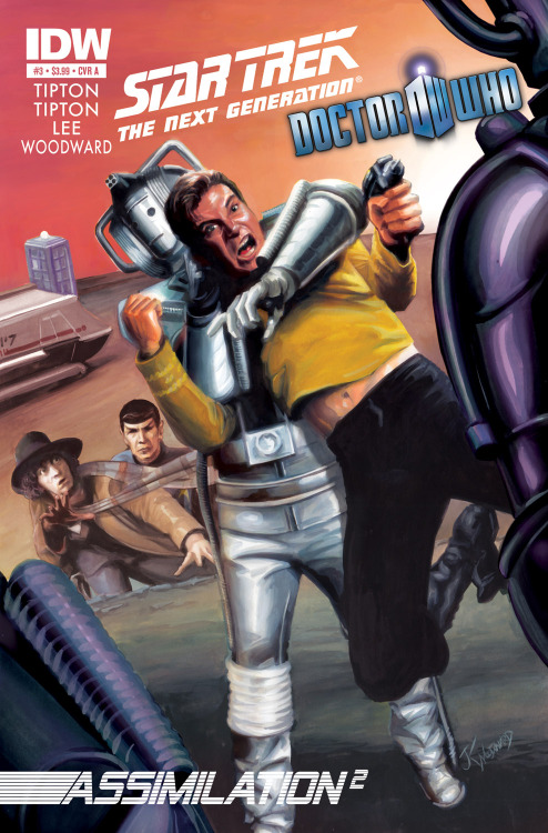 doctorwho:  Cover art for Star Trek TNG + Doctor Who Crossover Comic Book: Assimilation2 #3  The two greatest science-fiction properties of all time cross over for the first time in history, in STAR TREK: THE NEXT GENERATION/DOCTOR WHO: ASSIMILATION2! The true horror of the Borg-Cybermen alliance has been revealed, but what course of action will Captain Picard and the Doctor agree upon? And will the Doctor's recently resurfaced memories shed new night on the dilemma?