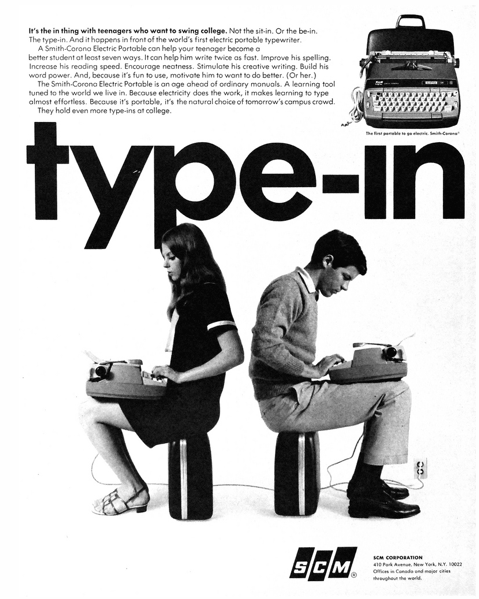 hollyhocksandtulips:  Life before laptops… SCM typewriters, 1967
