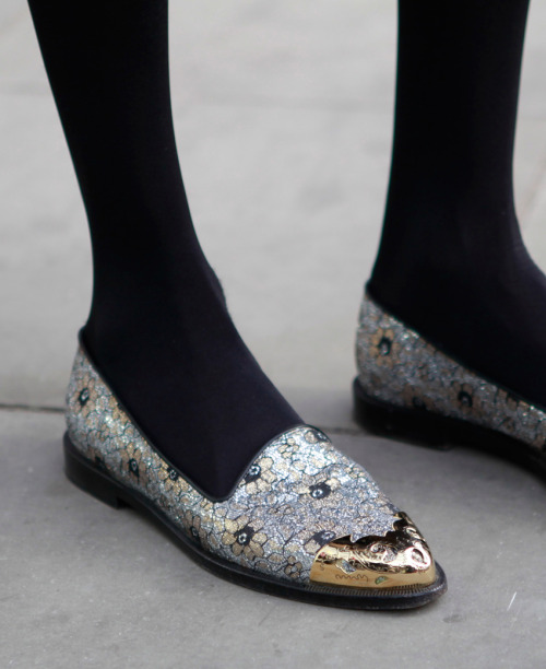 Some fancy slippers with metallic foil leather. We love the intricate detailing of the leather paired with the simplicity of the silhouette. SUBSCRIBERS CLICK HERE FOR THE FULL REPORT