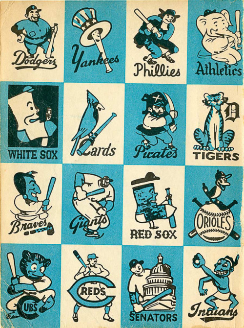 laughingsquid:  1956 Baseball Team Mascots  i want a shirt with all of these.