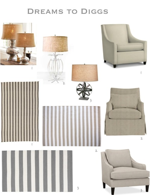 Here are my picks for this room! Lamps 1. Pottery barn $269; 2. Worlds Away $416; 3. Ballard $299 Rugs 1. Ballard (7x9) $699; 2. Bobby Berk (8x10) $1,100; 3. Crate & Barrel (8x10) $299 Chairs 1. West Elm $499; 2. Ballard $867; 3. Pottery Barn $1,399