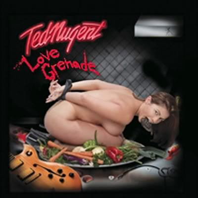 "Original album artwork for Mitt Romney supporter Ted Nugent's 2009 album ""Love Grenade"""