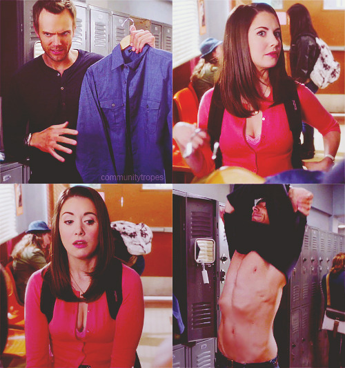 TV Trope: Covert Pervert  Annie: You're going to change your shirt?Jeff: Not if it's working.Annie: … It's not working.Jeff: You're right, I knew it.[Jeff strips off, Annie ogles him]Student: I'll have what she's having.Annie: Hey! Grow up, lady!Britta: Annie!Annie: Hisshirtwasn'tworking.  (3.15 Origins Of Vampire Mythology)