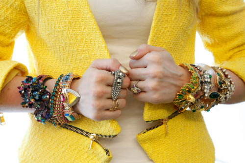 Check out my wrists, featured in Refinery 29's Wrist Wars story today!   Charm & Chain bracelets, from fingers downward: Right hand: Mawi, Lizzie Fortunato, DANNIJO, Erickson BeamonLeft hand: Alexis Bittar, Giles & Brother, Shourouk, Alexis Bittar, Elizabeth Cole, frieda&nellie