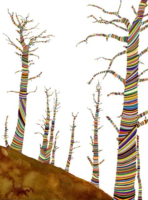 Carrie Marill, Knotty Pines, 2011, Gouache on paper, 14in x 11in, Opening bid only $650 in the BAMart Silent Auction on Paddle8!! Check out Carrie's new show soon at Jen Bekman Gallery!  (via: nobodysdiary)