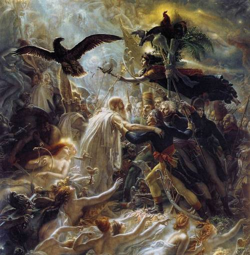 "This is Ossian Receiving the Ghosts of Fallen French Heroes by Anne-Louis Girodet. Painted in 1805, it's an homage to the literature-infused cult of Ossian, the mythical narrator of a cycle of poems by the Scottish writer James Macpherson. Perhaps it's easier to think of it as ""propaganda?"" Regardless, it's a very unique painting. And, if I remember my art history correctly, Napoleon wasn't quite sure what to make of it. - RH"