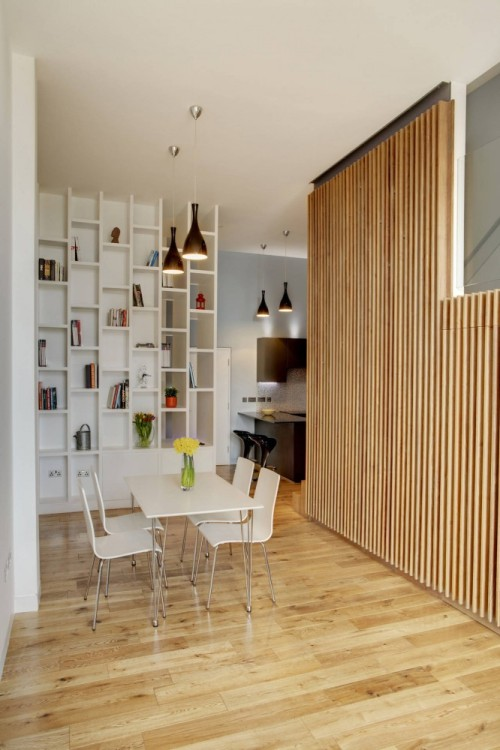 love the material use and vertical emphasis. great use of narrow spaces. apartment at bow quarter |studio verve architects london|england