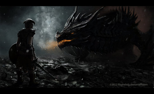 anda02:  Skyrim - Alduin by ~hughebdy  Cool artwork for a great game.