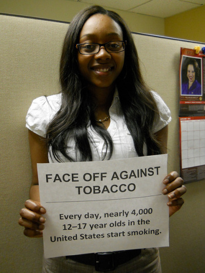 "Face Off Against Tobacco in Randolph on Flickr.""Learning about Big Tobacco's tactics to market to young people by making their products too attractive, too cheap, and too easy to get makes me fired up and ready to work against this!"""