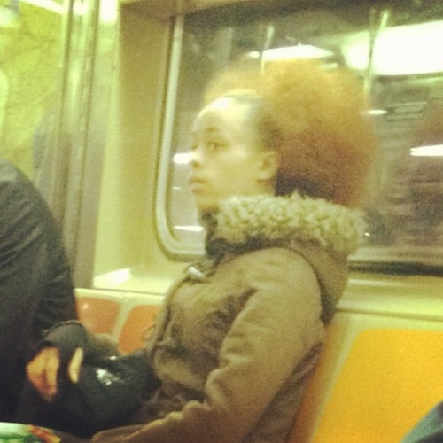 Girl on the train with dope hair. I'm kinda a creep but her shit was tight lol.  (Taken with instagram)