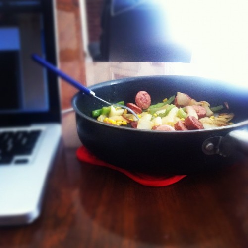 Best thing about cooking for one? No dishware needed. (Taken with instagram)
