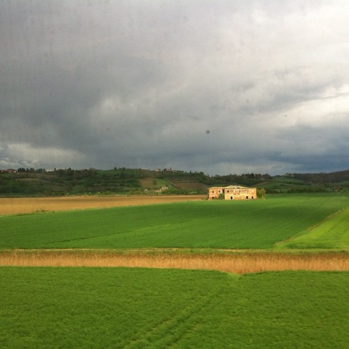 Italian countryside from the bullet train