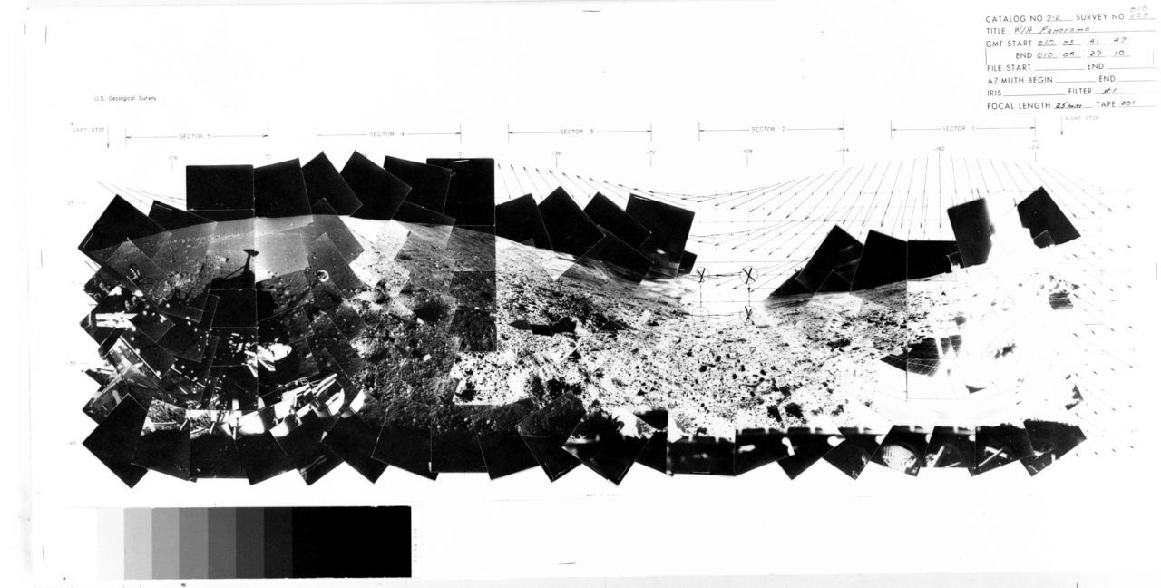blech:  A lunar panorama by Surveyor 7, the last of the unmanned landers sent by the US before the manned moon programme (via). Wikipedia:  On Jan. 20, while the craft was still in daylight, the TV camera clearly saw two laser beams aimed at it from the night side of the crescent Earth, one from Kitt Peak National Observatory, Tucson, Arizona, and the other at Table Mountain at Wrightwood, California.