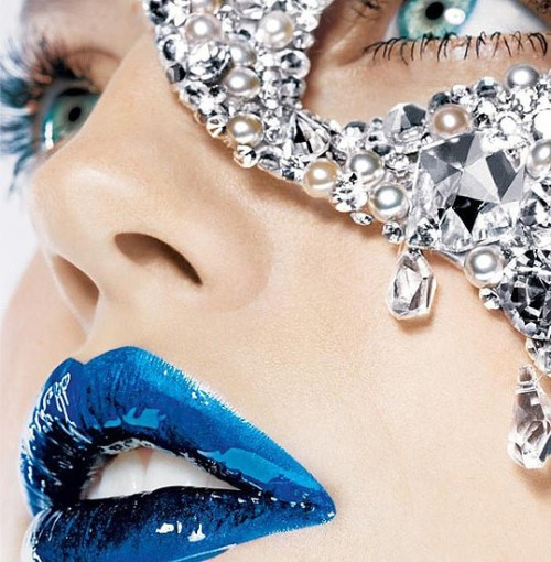 Metallic blue lips. This color is bold.