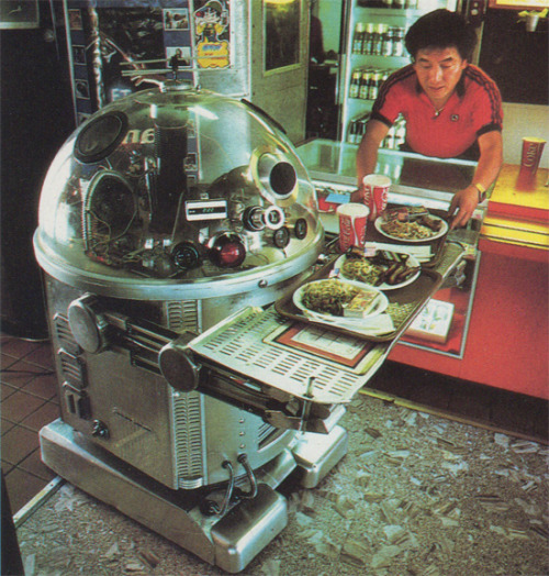 paleofuture:  The Disco-Blasting Robot Waiters of 1980s Pasadena