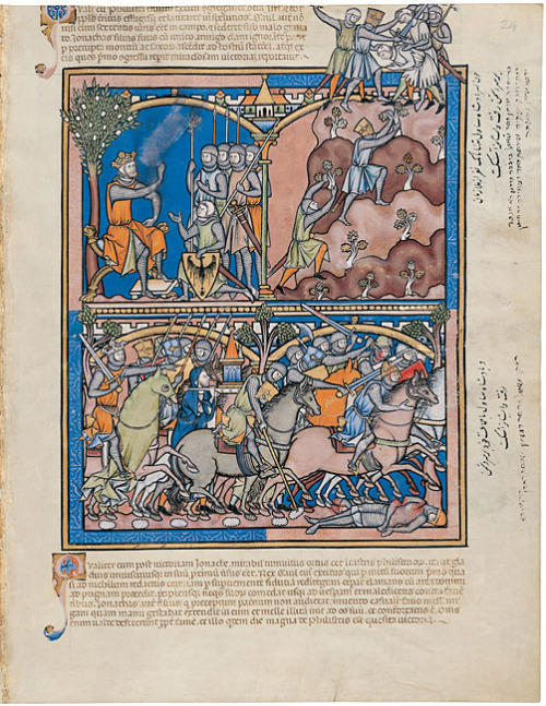 musingsofafreifechter:  And now I present knights and warfare from the 13th century from the Morgan Picture Bible (MS M.638), completed in the 1240s.  All pictures are from the Morgan Library and Museum website (themorgan.org).