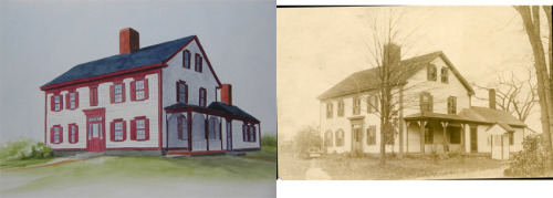 Commissioned watercolor of the client's family home from the late 1800's.