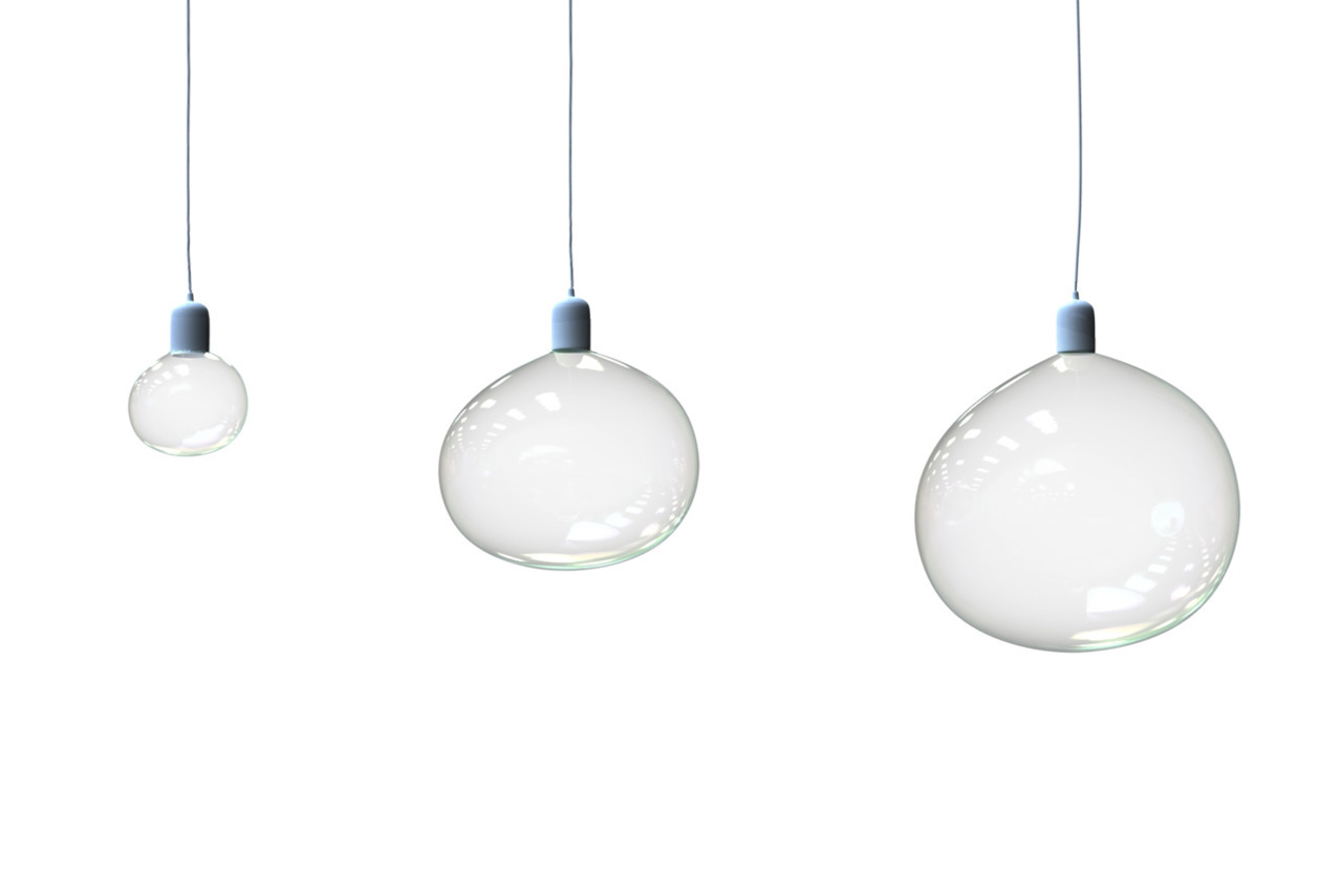 architizer:  The Surface Tension Lamp uses bubbles for light bulbs.