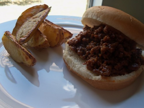(not so sloppy) sloppy joes!!! thanks foodwishes!! love you chef john!! and roasted rosemary potato wedges