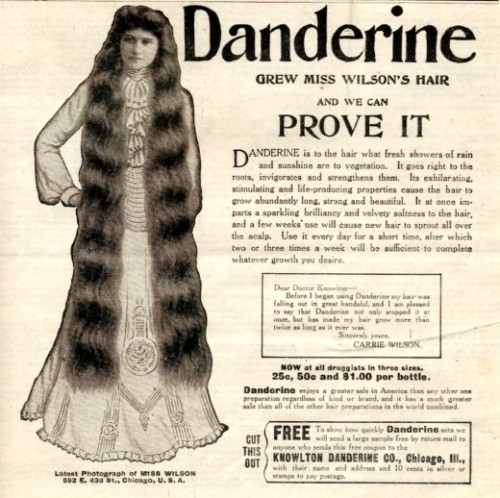 Danderine ad, 1905. (Image via How To Be A Retronaut)