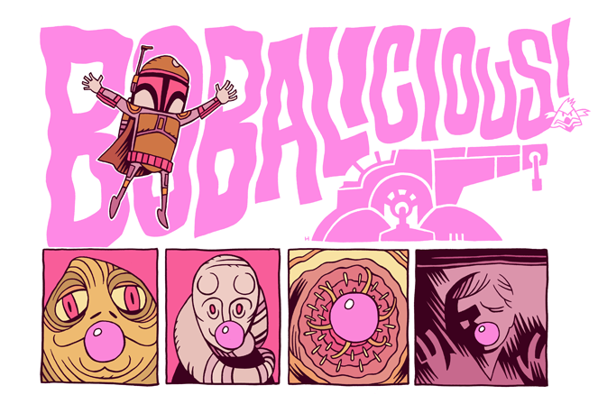 ianbrooks:  BOBALICIOUS! by Dan Hipp Errybody loves Boba Fett Bobalicious Bubble Gum long time! Though the Sarlacc pit monster accidentally swallowed his, so it'll be in his tummy for the next 1,000 years.  Artist: tumblr / twitter / flickr
