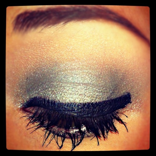 Create This Look with the following products: Maybelline Eye Studio 24hr Color Tattoo in Too Cool (on lid)Revlon Luxurious Color Diamond Lust Eye Shadow in Night Sky (on lid blended up into crease)Stila Jewel Eyeshadow in Blue Sapphire (on center of the lid)Maybelline Eye Studio Gel Liner (on top lash line)L'Oreal Voluminous Mascara + Revlon Grow Luscious Mascara