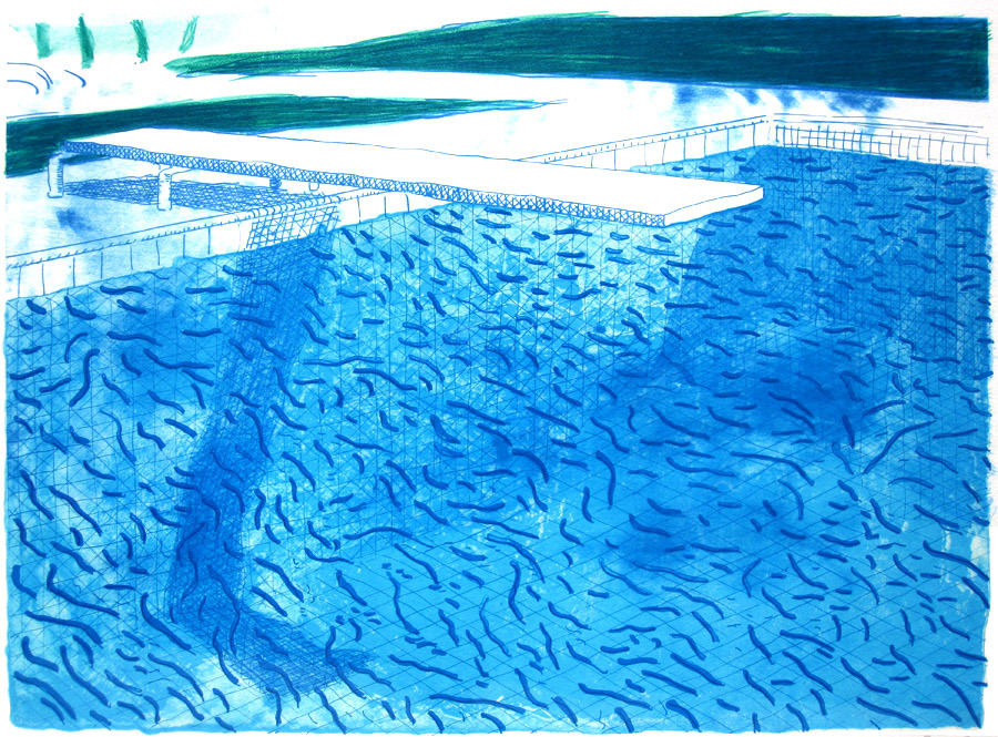 David Hockney, Lithograph of Water Made of Thick and Thin Blue Lines, 1979-80