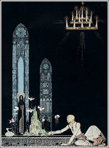 petitsucre:  It's a Shame we can't find better picture of Kay Nielsen's work on the internet.With Edmund Dulac and Arthur Rackham, they are kind of a Holly Trinity of early 20th century's illustrators.I prefer Nielsen, he has something lighter than the others. Well, i think.