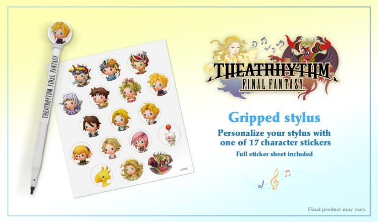 Preorders for Theatrhythm: Final Fantasy will come with this bonus stylus, which you can decorate with one of 17 stickers featuring character art (North America only). Will this be enough to make you cough up $40 for it? Preorder: Theatrhythm Final Fantasy Find: Nintendo DS/3DS release dates, discounts, & more See also: More Theatrhythm Final Fantasy news, media