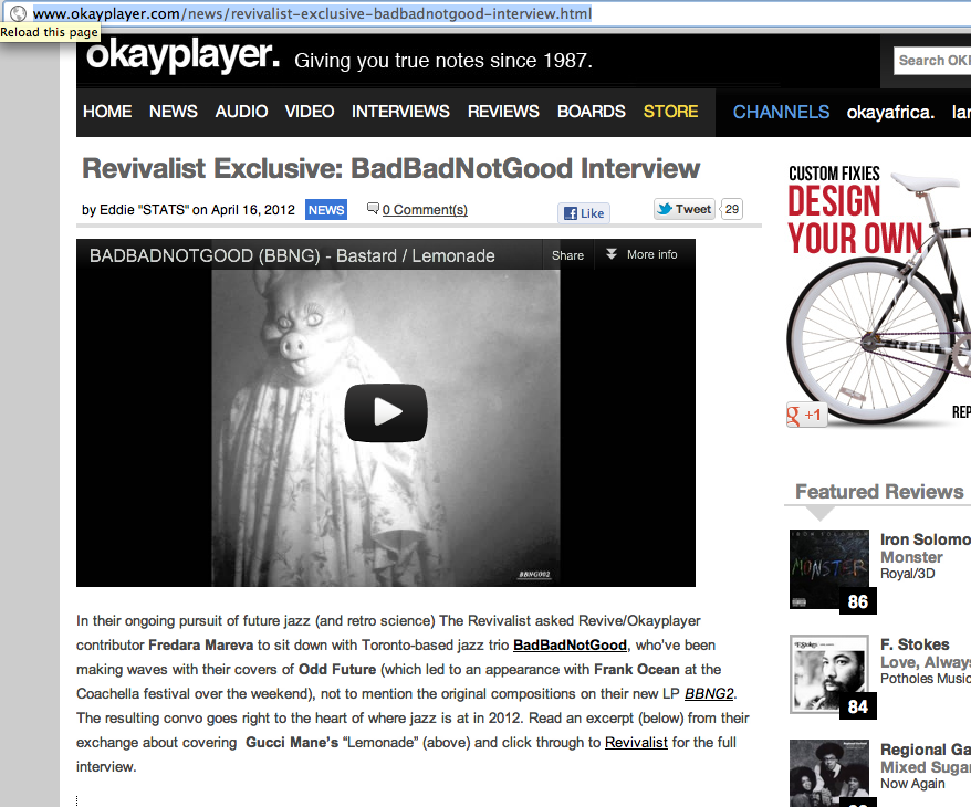 GOT AN INTERVIEW WITH OKAYPLAYER TOO!!!!  http://www.okayplayer.com/news/revivalist-exclusive-badbadnotgood-interview.html CLICK PHOTO TO READ THROUGH!!!