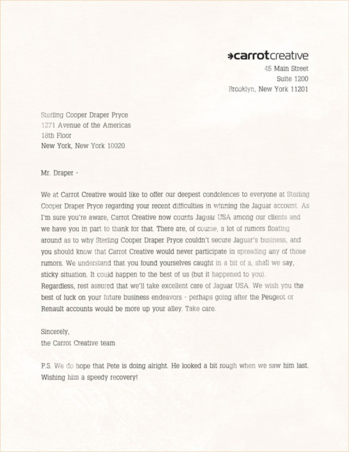 (via Jaguar's Real New York Ad Agency Sends A Letter To Don Draper)