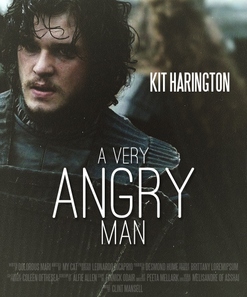 freefolking:  Fake poster meme → Kit Harington (requested by me tbh)  This is the story of a man who's angry all the time. And he looks good when he's angry.