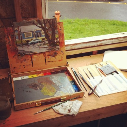 This is my tiny (Habitat For Artists) studio for the day. It's raining and I also forgot my tripod so it doesn't look like I'll be venturing out much.  (Taken with instagram)
