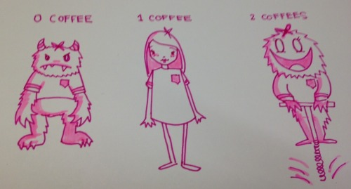 This is a completely accurate diagram on the effects of coffee on me. It transforms me from horrible, unsightly ogre to somewhat acceptable member of society. But then it turns me into Animal from the Muppets on a pogo stick.  Crazy stuff, that coffee.
