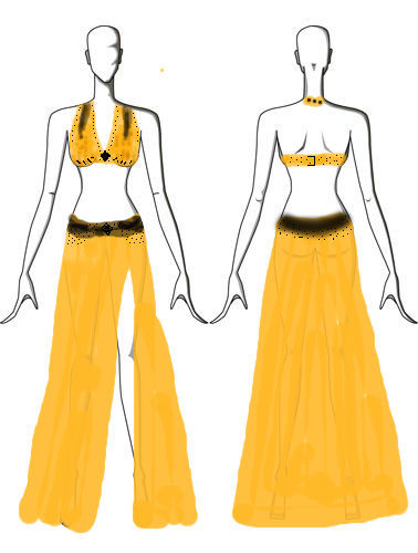 My plan for my new belly dance costume, which I'm making from an uglyyyy gold lame dress from the 80's I got at a swap/free market. I just need to make the channel for the elastic waist to be finished with the skirt, and I'm working on the pattern for the bra with scrap fabric, which will be reinforced with some bra cups from an old bra. I will be posting a step-by-step with photos sometime soon! The black transparent areas will be black chiffon, and the opaque areas are beading. Any comments or suggestions?