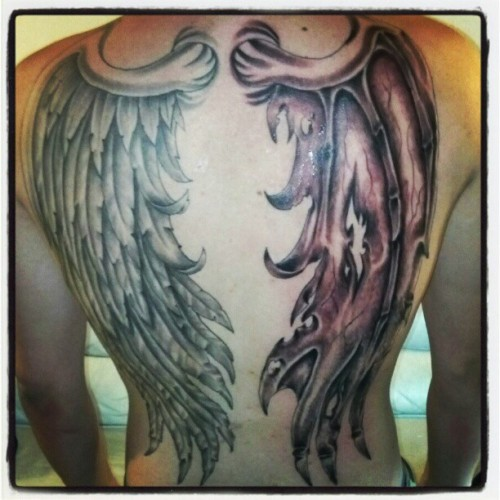 #backpiece#tattoo#GOOD&EVIL#GOLDENTOUCHTATTOO (Taken with instagram)