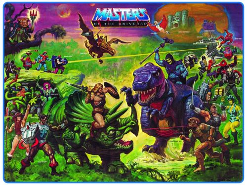 He-Man and Skeletor riding dinos.
