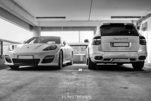 Power Couple.  Porsche Panamera & Cayenne GTS by J.-J. Bartz