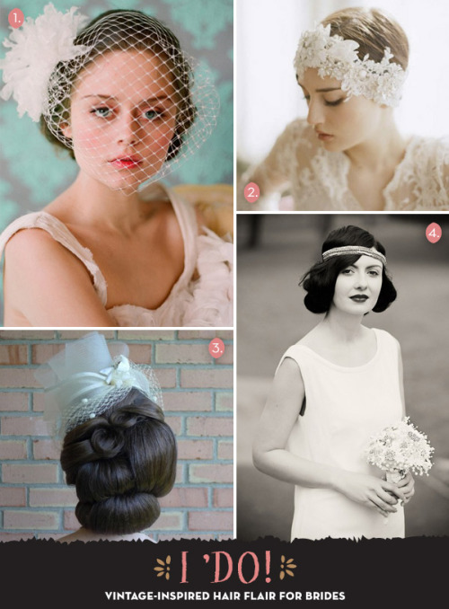 We've been 'pinning' up a storm! Check out our Favorite vintage-inspired hair accessories for wedding day 'dos and then mosey on over at the ModCloth Pinterest for even more wedding day inspiration! 1. Bridal birdcage veil by Twigs and Honey, 2. Bridal headpiece by Twigs and Honey, 3. Photo via Offbeat Bride, 4. Photo by Kristen Mavric.