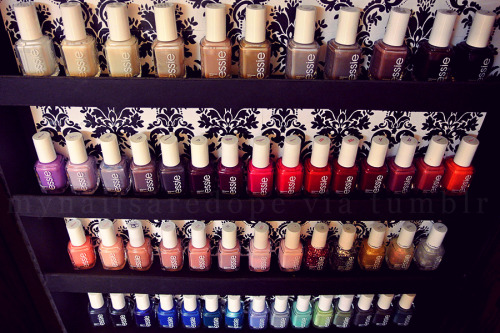 mynailsaredope:  Just reorganized.. welcome to Essie heaven!  If I were rich, I would buy all the Essies in the world