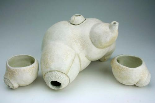 so Hans Bellmer-esque! hawktrainer: Ceramic Teapot and cups by Virginia Rose Torrence. available at MOCAD (via Virginia Rose Torrence)