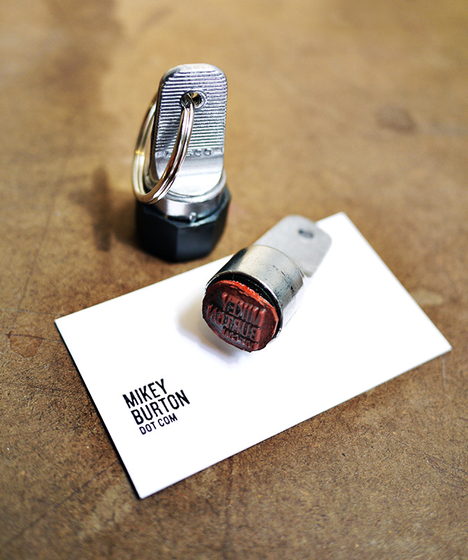 "whereisthecoool:  Business Card Stamps Inspired by a design competition to put a creative new spin on the conventional business card, Mikey Burton and Cranky Pressman have created this ingenious business card stamp. At only 3/4"" wide, this self-inking stamp is made for a business card, but can be placed almost anywhere. Try not to go too crazy, though. Self-promotion can sometimes go too far. (Via Surplus)"