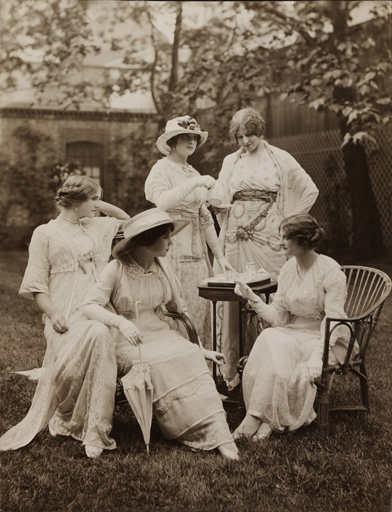 coquette-journal:  yeoldefashion:  A 1912 photograph of women in Lucile tea apparel. This photo was featured alongside Lucile's Her Wardrobe column in Good Housekeeping magazine.  So Wanna Join:)!