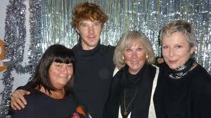 Benedict touching Dawn French.