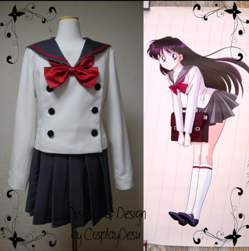 sailorhoneymoon:  Available on etsy.  This is seriously my favorite uniform out of them all. Ugh. I want it.   Man, I agree. Rei's uniform was the bomb. I think it's the buttons.
