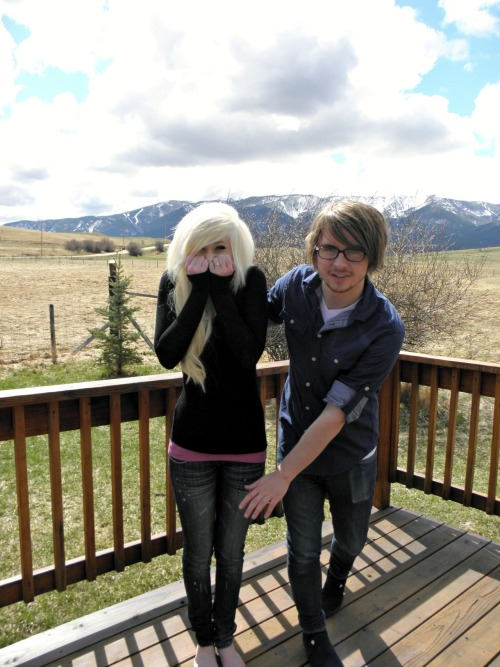 My boyfriend and I being silly at my ranch :)  This is his tumblr! http://dmillustrations.com/